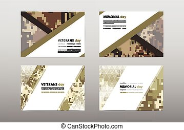 Set of Veterans Day brochure, poster templates in khaki...