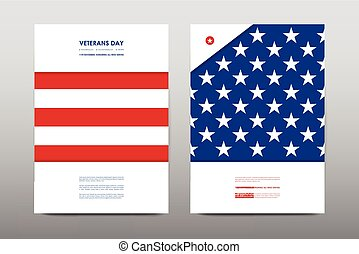 Set of Veterans Day brochure, poster templates in USA flag...