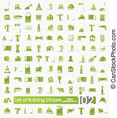 Set of building stickers - building vector sticker icons...