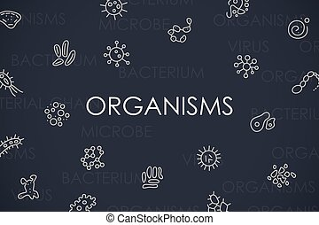 Organisms Thin Line Icons - Thin Stroke Line Icons of...