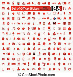 Set of office stickers - office vector sticker icons with...