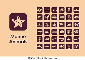 Set of marine animals simple icons