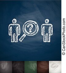 two people icon. Hand drawn vector illustration. Chalkboard...
