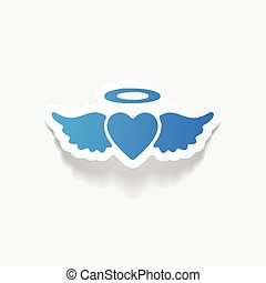 realistic design element: heart angel