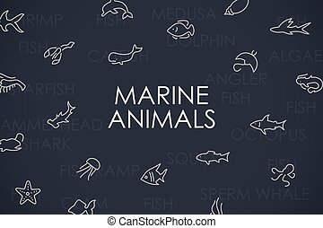 Marine Animals Thin Line Icons - Thin Stroke Line Icons of...