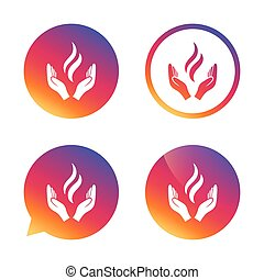 Energy hands sign icon Power from hands symbol Gradient...