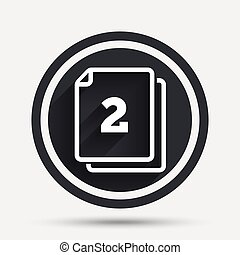 In pack 2 sheets sign icon. 2 papers symbol. Circle flat...