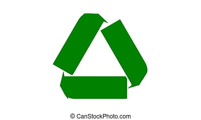 Recycle icon animation with flat green arrows