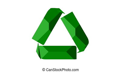 Recycle icon animation with textured green arrows -...