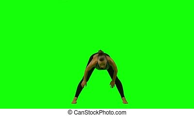 Sporty woman doing a yoga. Green screen - Sports girl, yoga,...