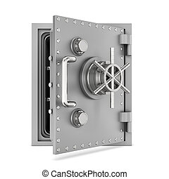 Rendering of steel safe box with open door, isolated on...