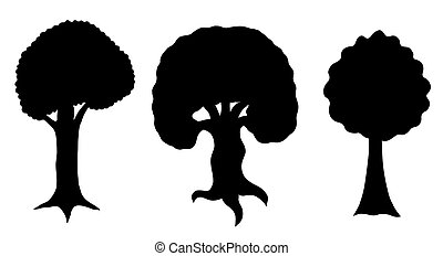 various of vector tree silhouettes in black and white color