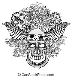 Skull with the succulent plants. - Skull with wings and...
