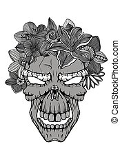 Skull with the succulent plants. - Skull with the succulent...