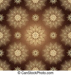 Browne seamless pattern with shiny gradient golden vintage...