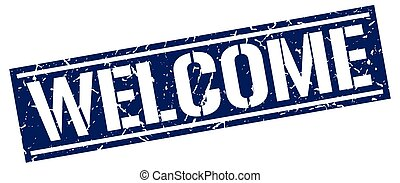 welcome square grunge stamp
