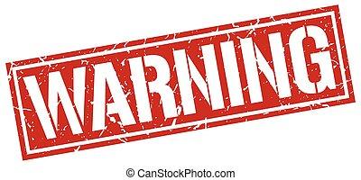 warning square grunge stamp