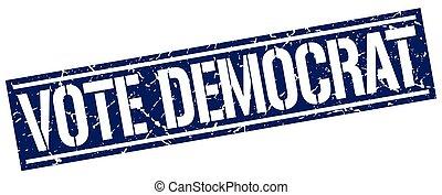 vote democrat square grunge stamp