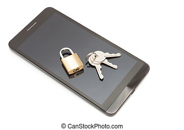 Smartphone with small lock and keys over it. Mobile phone...