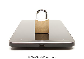 Smartphone with small lock over it. Mobile phone security and data protection concept