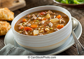 Beef and Barley Soup - A bowl of delicious beef and barley...