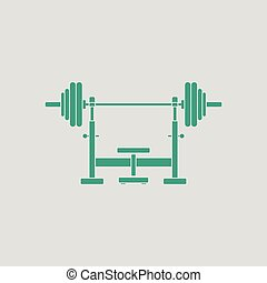 Bench with barbel icon. Gray background with green. Vector...