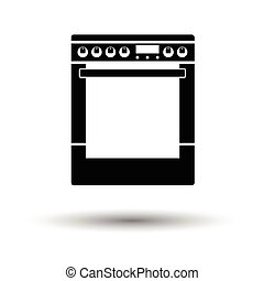 Kitchen main stove unit icon. White background with shadow...