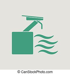 Diving stand icon. Gray background with green. Vector...