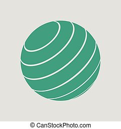 Fitness rubber ball icon. Gray background with green. Vector...
