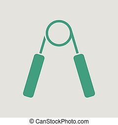Hands expander icon. Gray background with green. Vector...