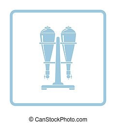 Soda siphon equipment icon. Blue frame design. Vector...