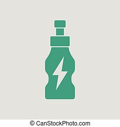 Energy drinks bottle icon. Gray background with green....