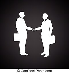 Meeting businessmen icon. Black background with white....
