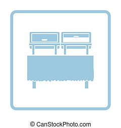 Chafing dish icon. Blue frame design. Vector illustration.