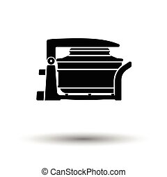 Electric convection oven icon. White background with shadow...