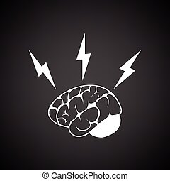 Brainstorm icon. Black background with white. Vector...