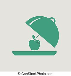Apple inside cloche icon. Gray background with green. Vector...