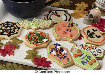 Halloween Cookies on a White Ceramic Plate - Decorated...