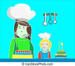 Illustration of mom and daughter making cakes