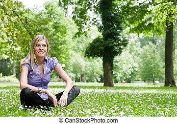 mulher,  -, capim, natureza, relaxe