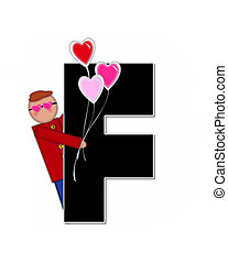 Alphabet Children Valentines F - The letter F, in the...