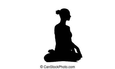 Healthy woman making meditation on the white backround....