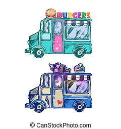 Food Truck Sketch - Colored food truck sketch with two icons...