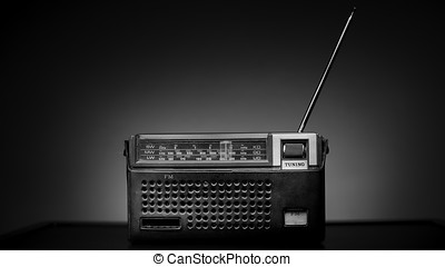Old Fashion Radio in a leather case black and white...