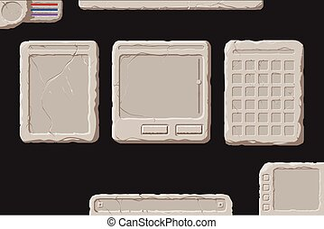 Set of stone interface elements - Set of vector stone...
