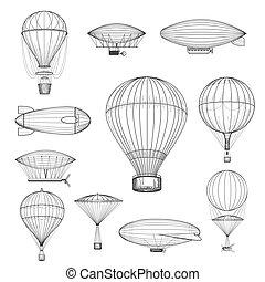 Vintage hot air balloons. Retro hand drawn air balloon set...