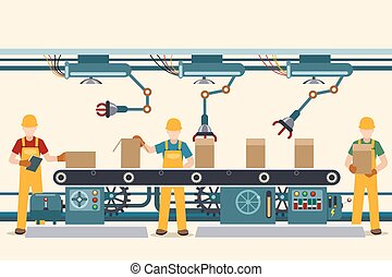 Production conveyor belt with operational people