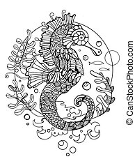 Sea horse coloring book for adults vector illustration....