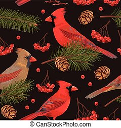 Seamless cardinal and spruce