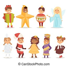 Illustration of carnival costume kids vector. - Illustration...